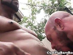 Interacial bear cumdrops while assfucked raw