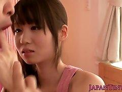 Petite asian adult movie star Yumeno Aika cumswapping