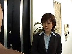 Yukino strips office suit while sucking