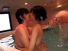Supercute Asian nubile Ruri fucked in the indoor pool