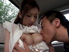 Exotic Japanese lady Arisa Aizawa in Horny thick boobies, car JAV clip