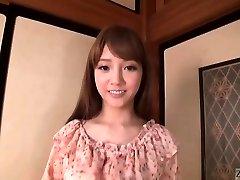 Subtitled Asian AV star Rei Mizuna striptease to nudity