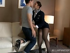 Hot stewardess is an Japanese dame in high heels