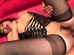 Lady in hot black lingerie has 3 way for creampie finish