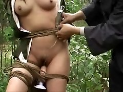 Chinese army girl bound to tree 3
