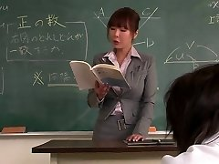 Instructor gets her face creamed by her schoolgirl