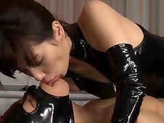 Kåt Japansk slyna Miyuki Yokoyama i Bästa fetisch, latex JAV scen