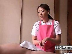 Subtitled CFNM Japanese caregiver aged boy handjob