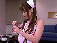 Huge-titted japanese nurses in medical threeway fun