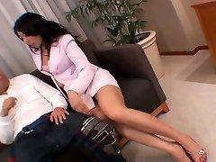 Slutty Asian secretary masturbates her vulva right in front of her manager