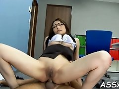 Magnificent asian loves stimulating toying for her pussy and anal