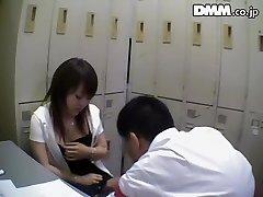 Gross Japanese babe sucks dick in spy cam Japanese fuckfest video
