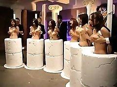 Helpless Oriental honeys getting their big orbs massaged
