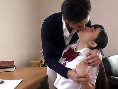 Japanese school cutie lures her schoolteacher and sucks his delicious cock in 69 pose