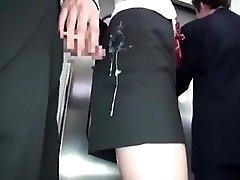 jap femmes gets cum in clothes