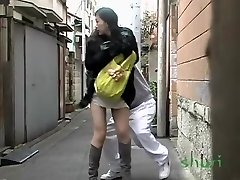 Astonished long-haired oriental babe loses her panties during sharking affair