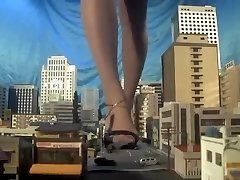 Huge japanese giantess, barefoot,sandals,many campers kneed each step