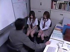 Two Jap schoolgirls fucked in hidden cam Japanese sex vid