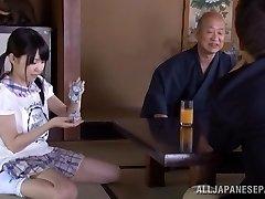 Petite Asian nubile Marin Aono depthroats old guy