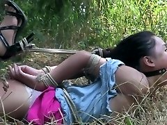Asian teen corded and ball-gagged made to orgasm!
