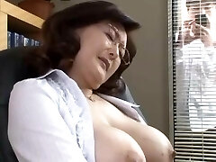 Asian school director masturbates in the office