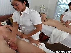 2 professional masseurs Ashley Marie and Marquetta Jewel give a superb cock massage