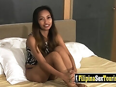 Point Of View sex with a petite Filipina babe with a kinky stranger and his big cock.