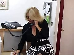 Mature secretary gets spunk on her big breasts