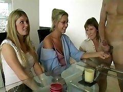 Three Moms Wanking Cock