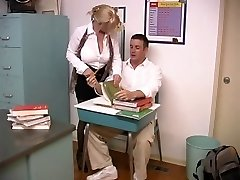 Mature blond with enormous cupcakes screwed by student in the classroom