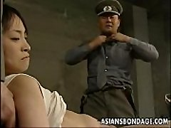 Japanese chick restrained down and stuffed with meaty dicks