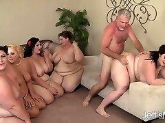 5 Horny BBWs boned by 3 cocks