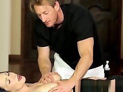 Busty massage babe pussyfucked by fat prick