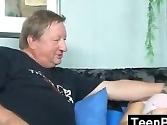 Blonde Teen With A Fat Elderly Guy