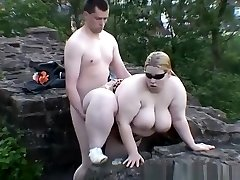 Chubby woman fucked in public place