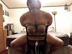 BBW bound to chair made to have multiple  orgasms