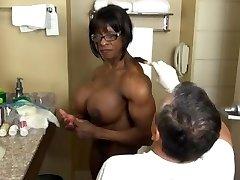 Utterly muscular ebony getting ready