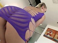 Torrid auburn nympho Natasha Blu sucks dirty cock and gets lubed ass torn up