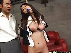 Asian getting some fetish rope
