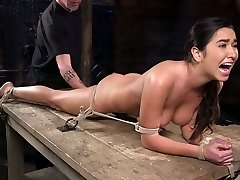 Bondage bitch Karlee Grey rockets in the dark BDSM room