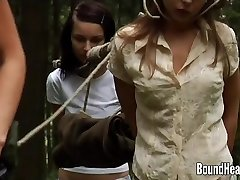 2 Innocent Girls Caught By Lesbian Huntress And Corded Up