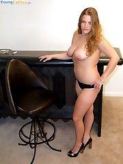 Playful young plumper takes her satin panties off