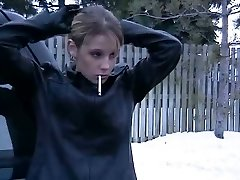 Smoking Dame in Leather Jacket and Mittens 2