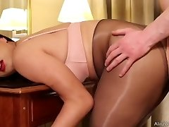 Tgirl Alina pantyhose fuck-a-thon with fan and cum firm
