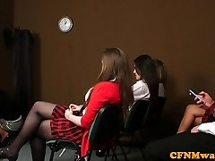 British CFNM student cocksucking classmate