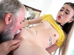 Elder Goes Young - Lovely Vlada splits open her long legs