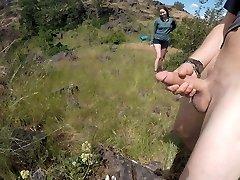 Hiking - sucking spunk-pump, getting caught masturbating, peeing