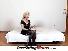 Pantyhose legs lady Maya cfnm and hairy muff facesitting