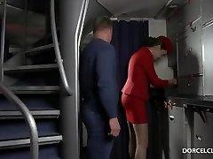 Stewardess swallows