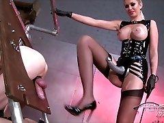 Mistress teaches her slave dog